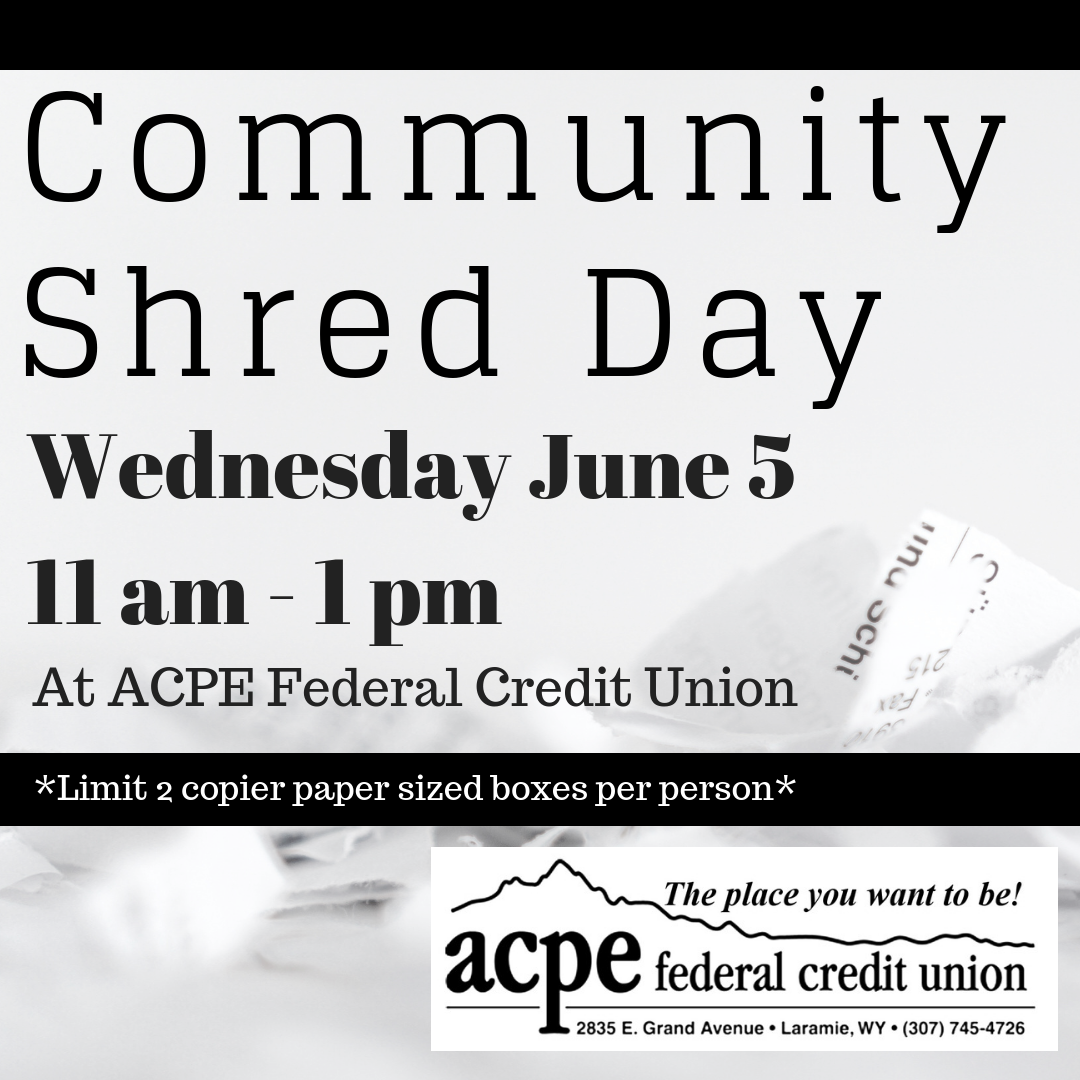 Shred Day: June 5, 2019 11 am – 1 pm | ACPE Federal Credit Union